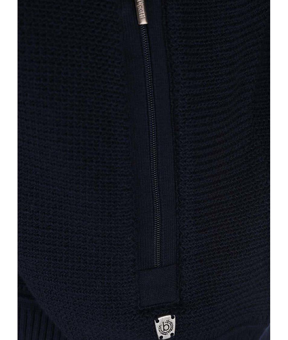 Tmavě modrý pánský svetr na zip bugatti - eleganter.cz 41843c419f