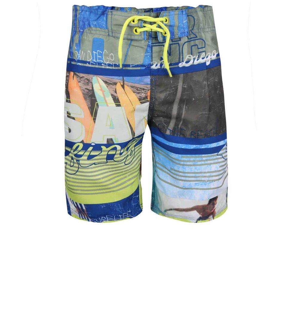 Žltomodré chlapčenské plavky s potlačou name it Zoron