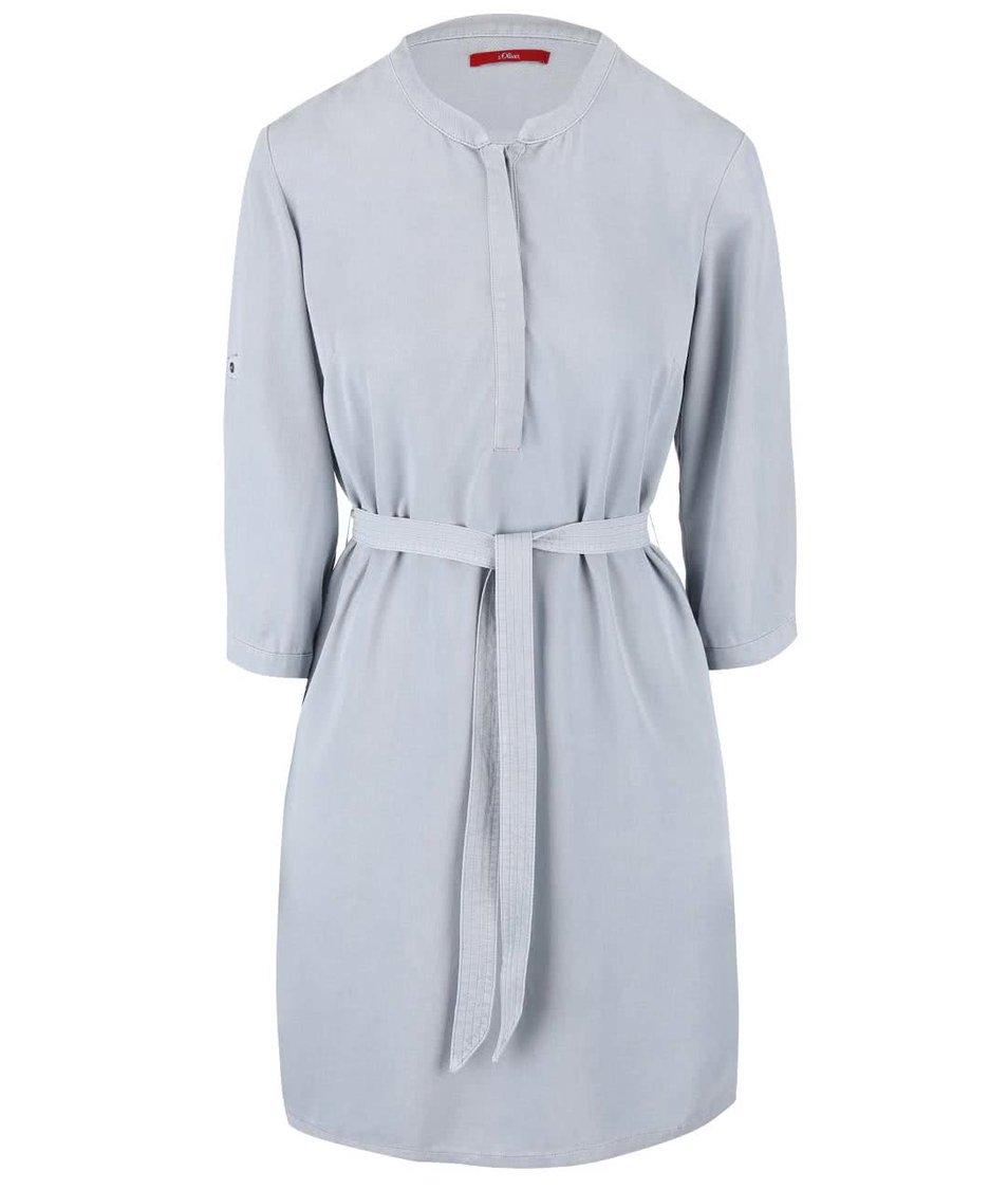 Modrosivé šaty s opaskom s.Oliver