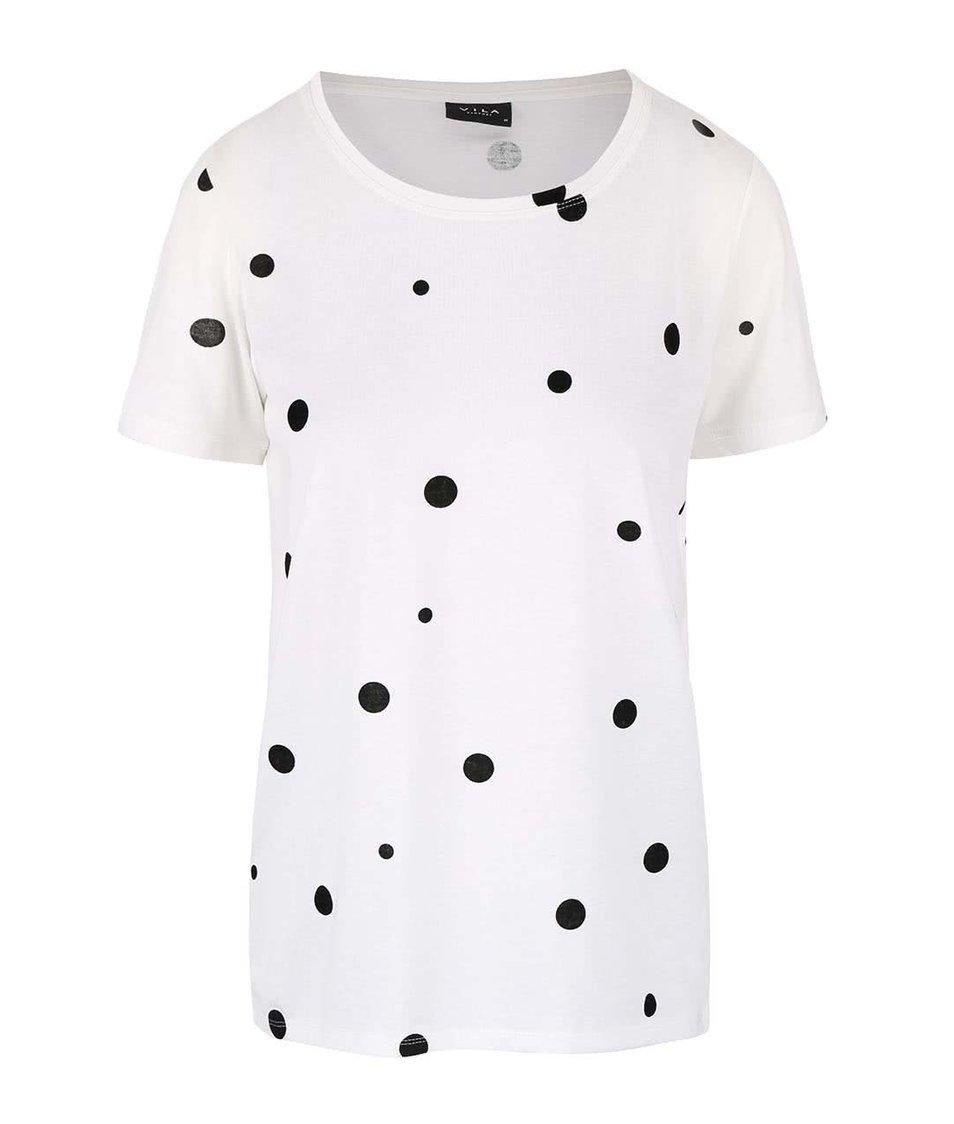 Krémové tričko s čiernymi bodkami VILA Splot