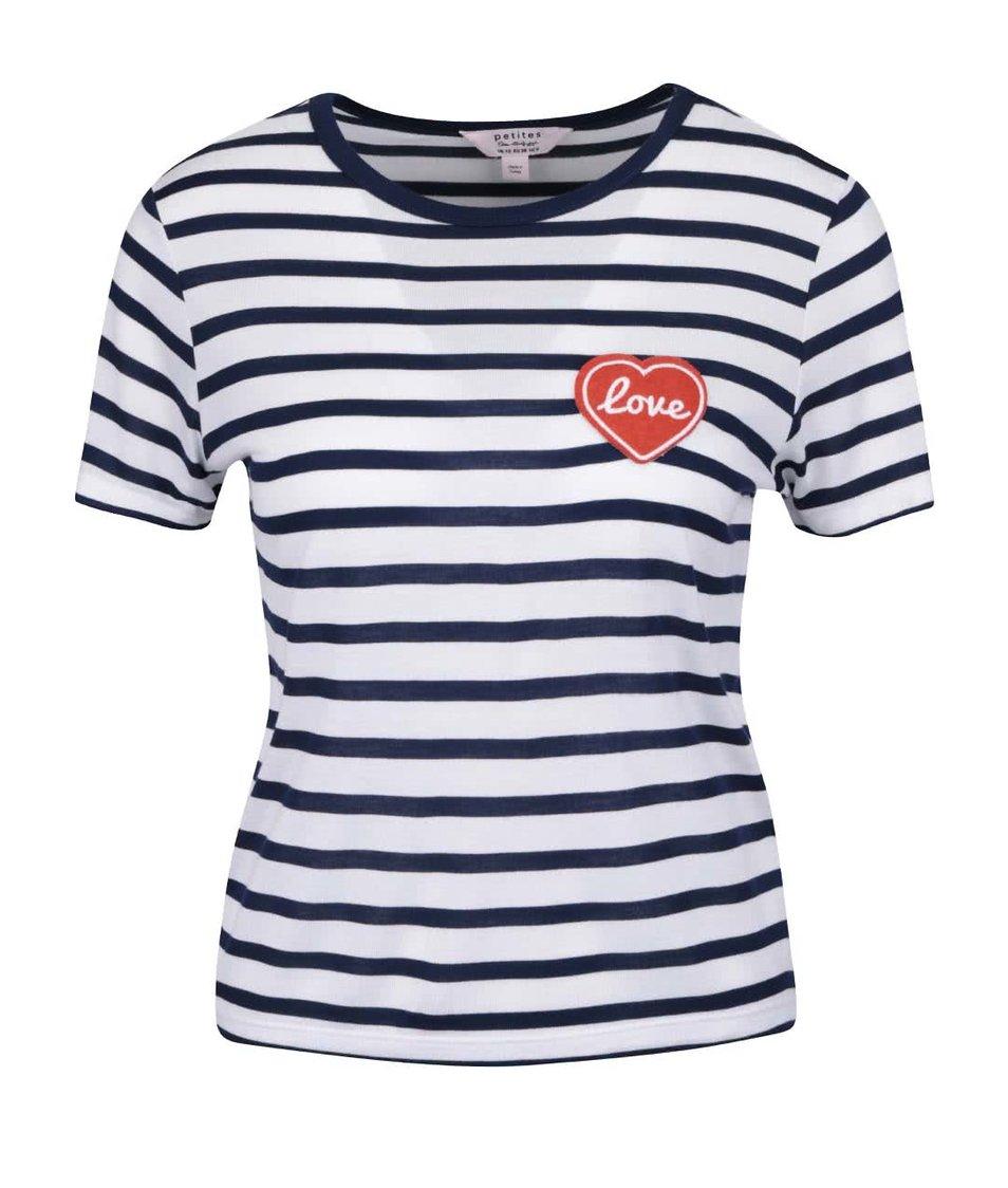 Krémové tričko s modrými pruhmi Miss Selfridge Petites