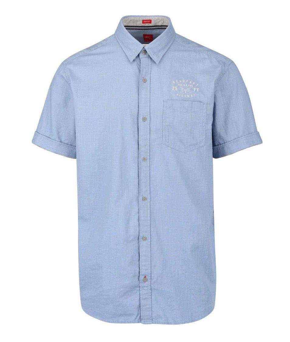 Modrá neformálna pánska košeľa s vreckom s.Oliver