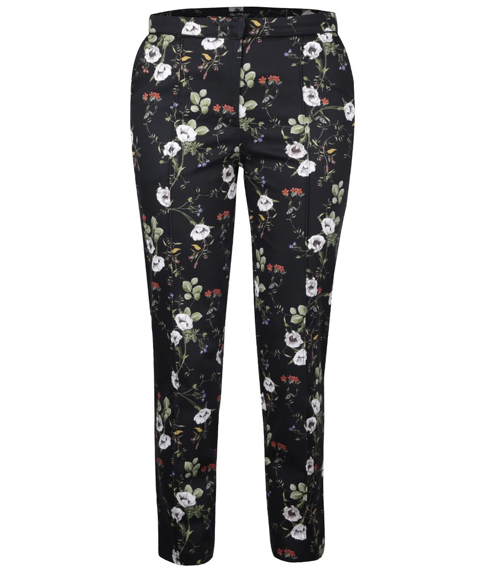 Čierne kvetinové nohavice Miss Selfridge