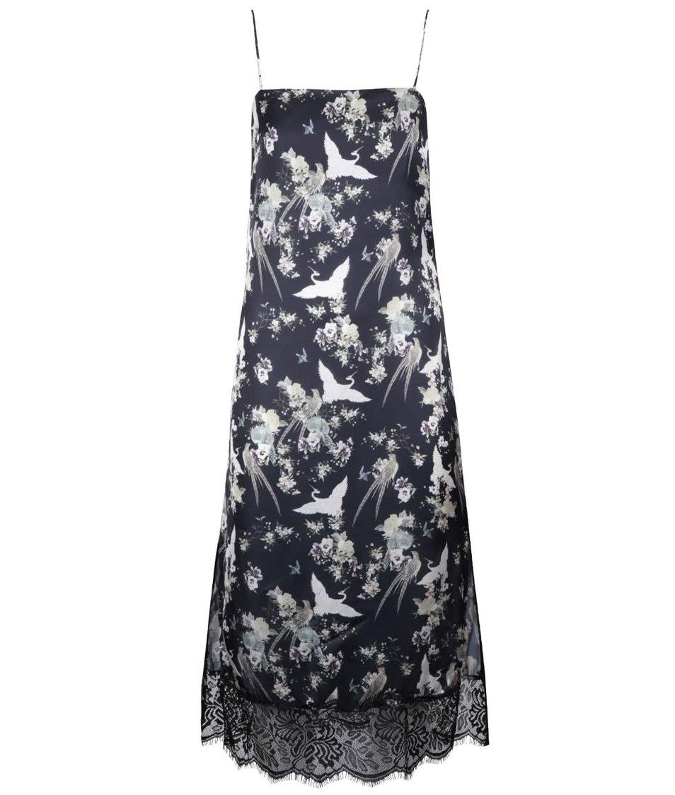 Čierne dlhšie kvetinové šaty na ramienka Miss Selfridge