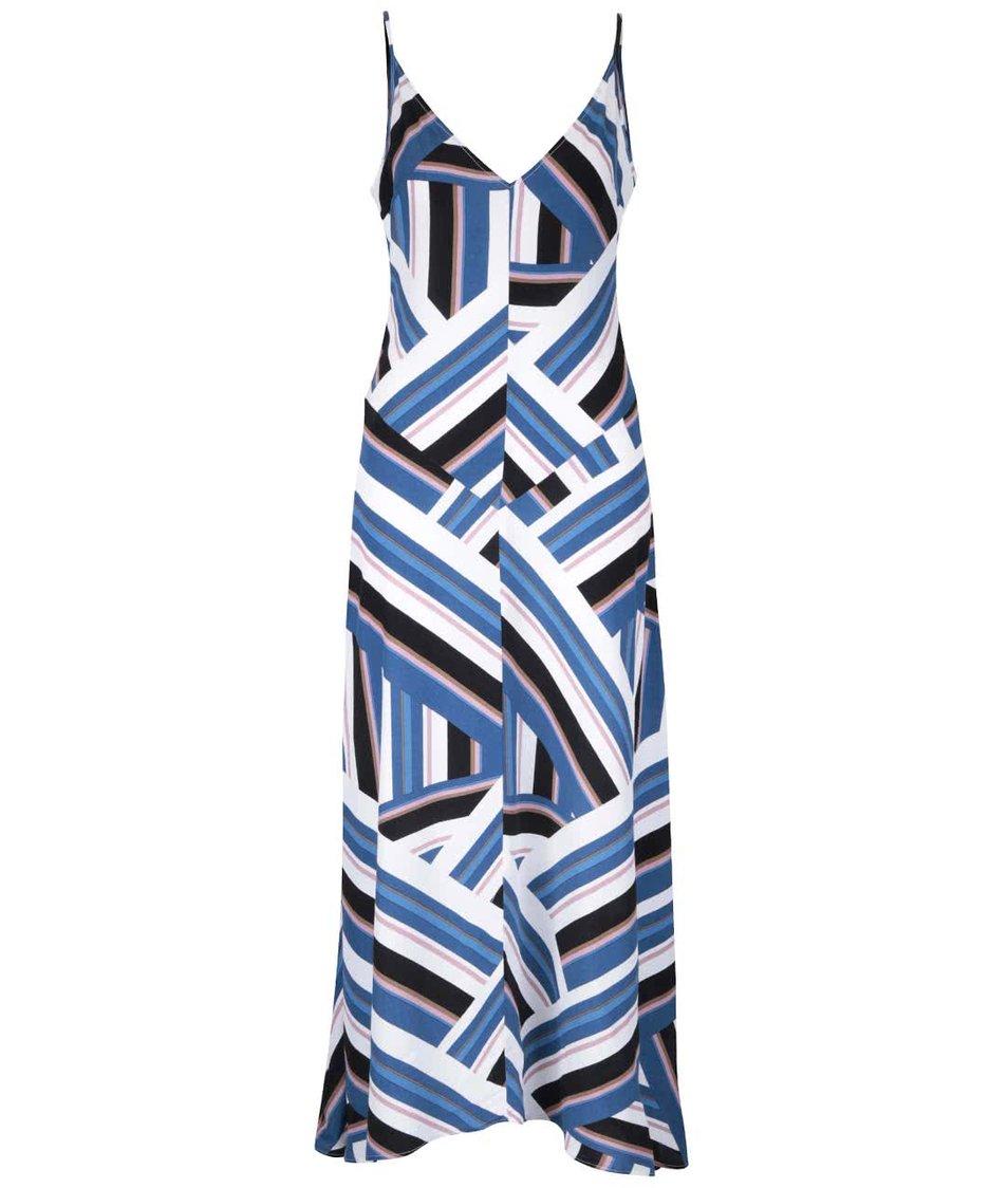Modré vzorované dlhšie šaty Miss Selfridge
