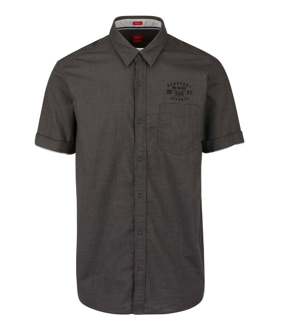 Tmavosivá pánska košeľa s vreckom s.Oliver