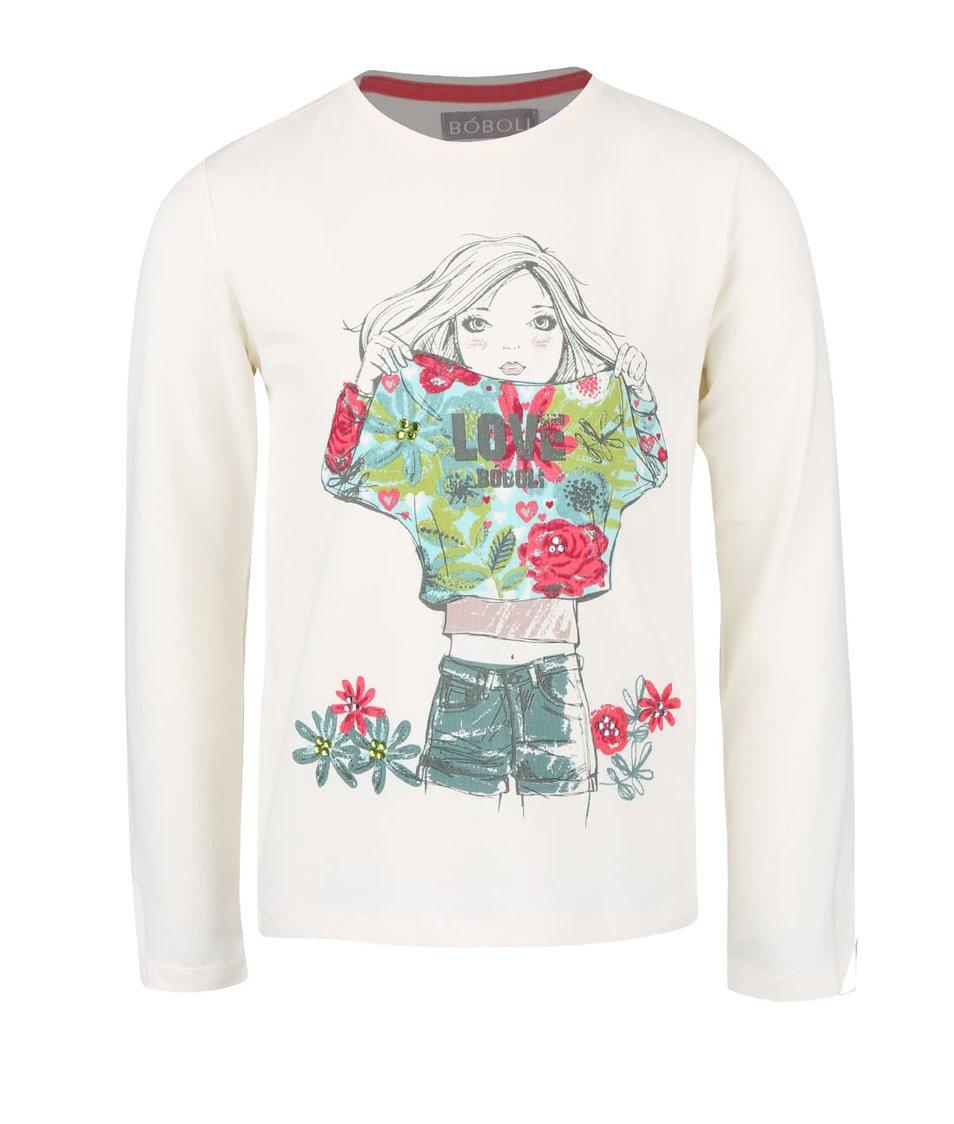 Krémové dievčenské tričko s potlačou a farebnými kamienkami Bóboli
