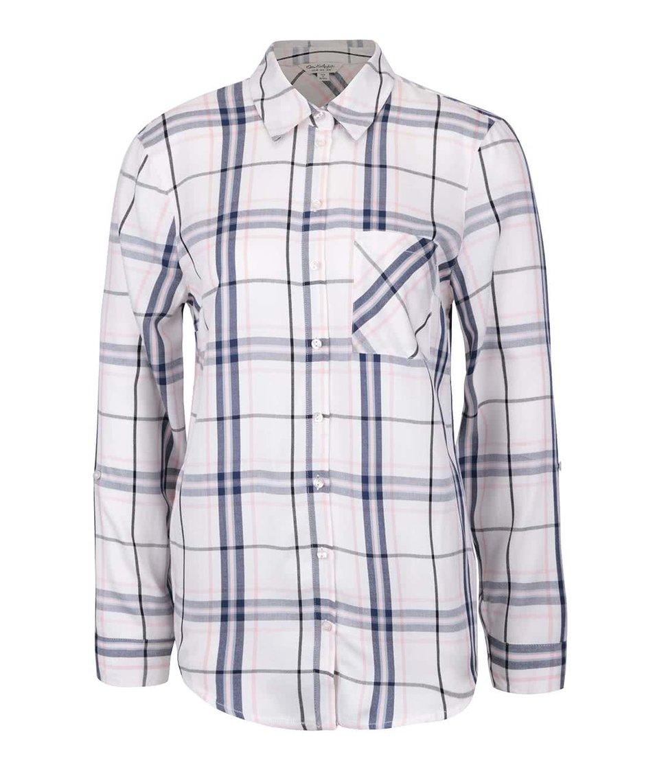 Modré-krémová kockovaná košeľa Miss Selfridge
