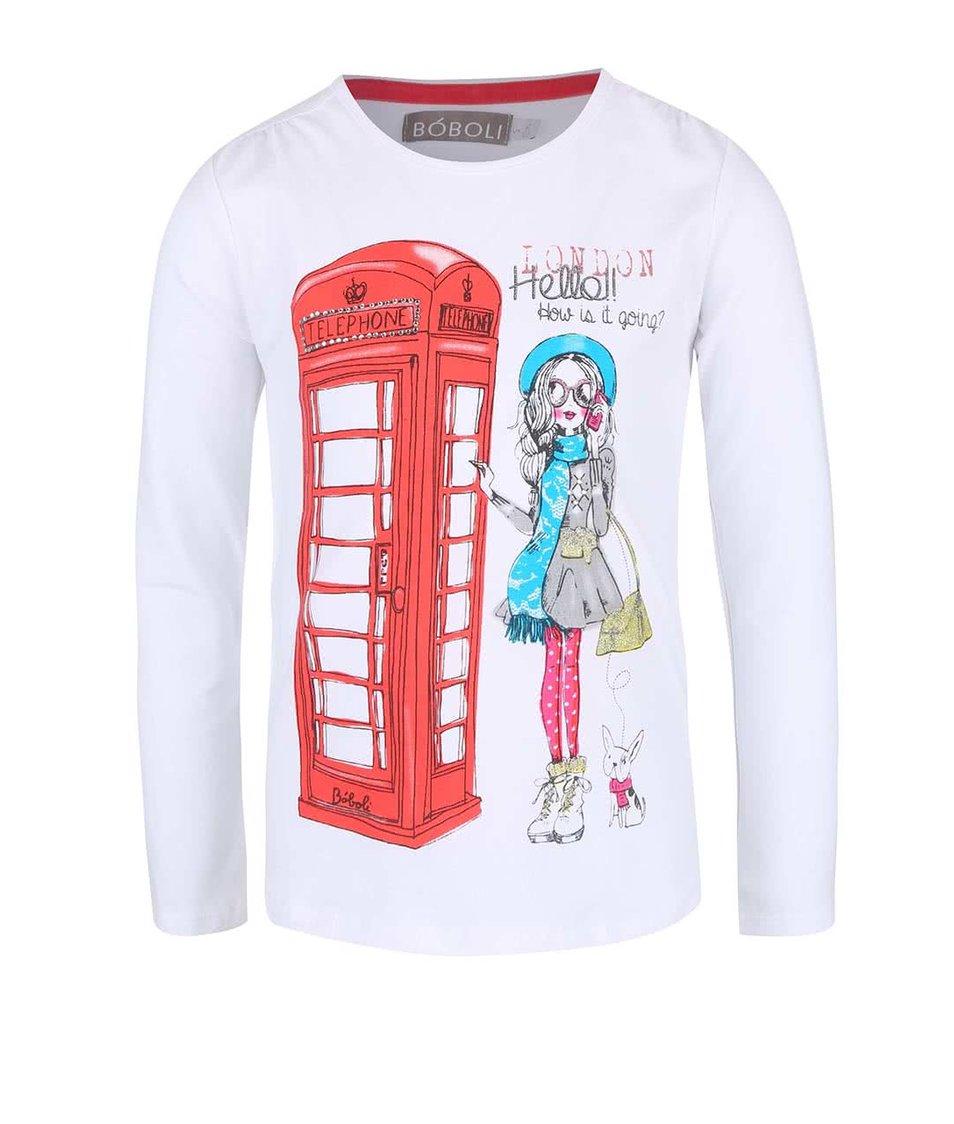 Biele dievčenské tričko s dievčinou v Londýne Bóboli