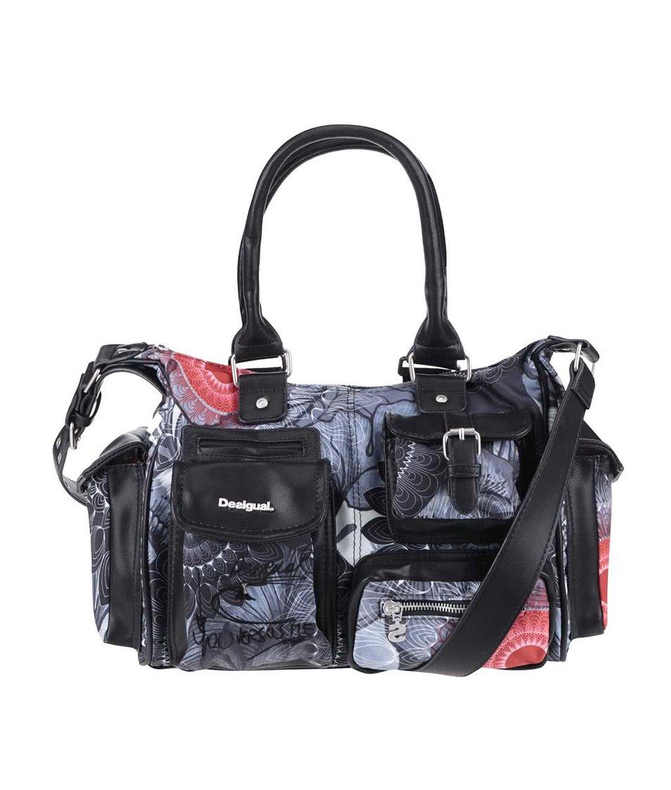 Sivo-čierna vzorovaná kabelka Desigual London