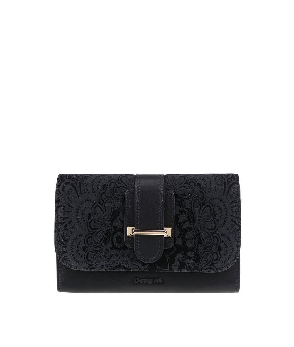 Čierna peňaženka s prackou v semišovej úprave Desigual Lengueta Velvet