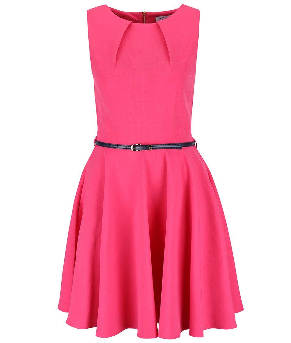 Ružové šaty s tmavomodrým opaskom Closet