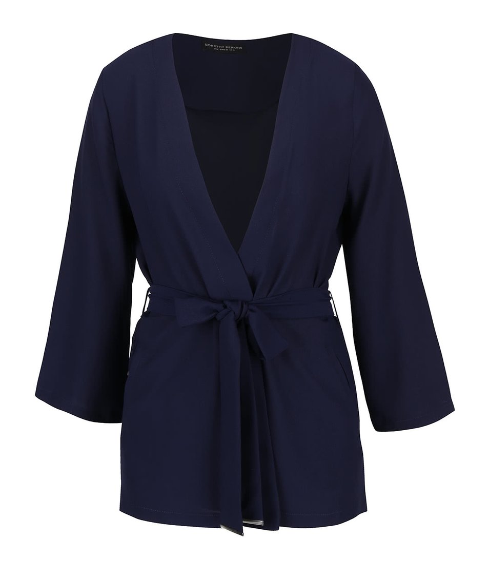 Tmavomodré zvinovacie kimono Dorothy Perkins