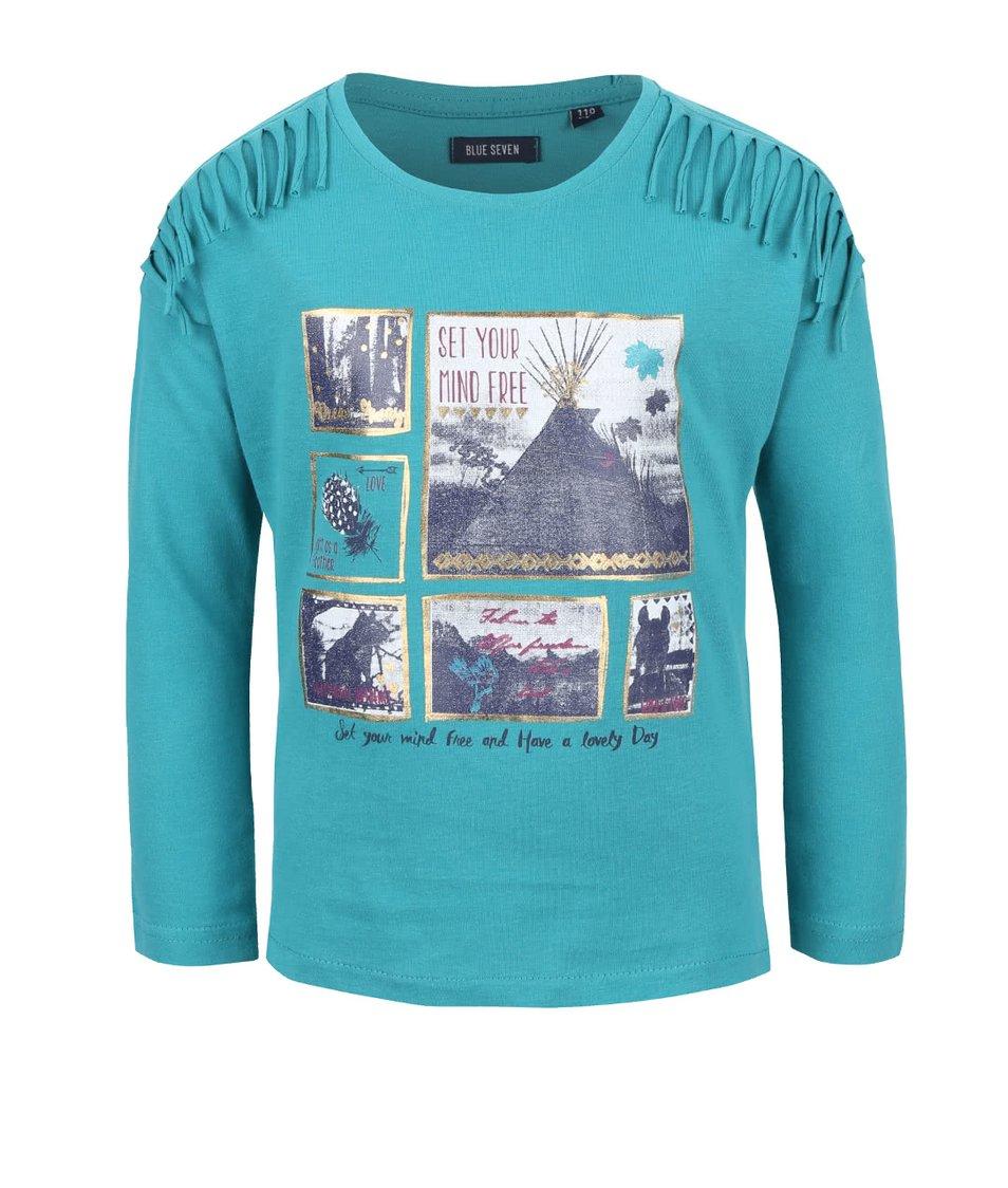Petrolejové dievčenské tričko s potlačou a strapcami Blue Seven