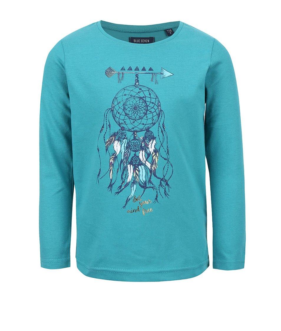 Petrolejové dievčenské tričko s okrúhlym výstrihom Blue Seven