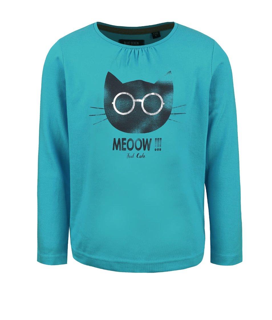 Petrolejové dievčenské tričko s potlačou mačky Blue Seven