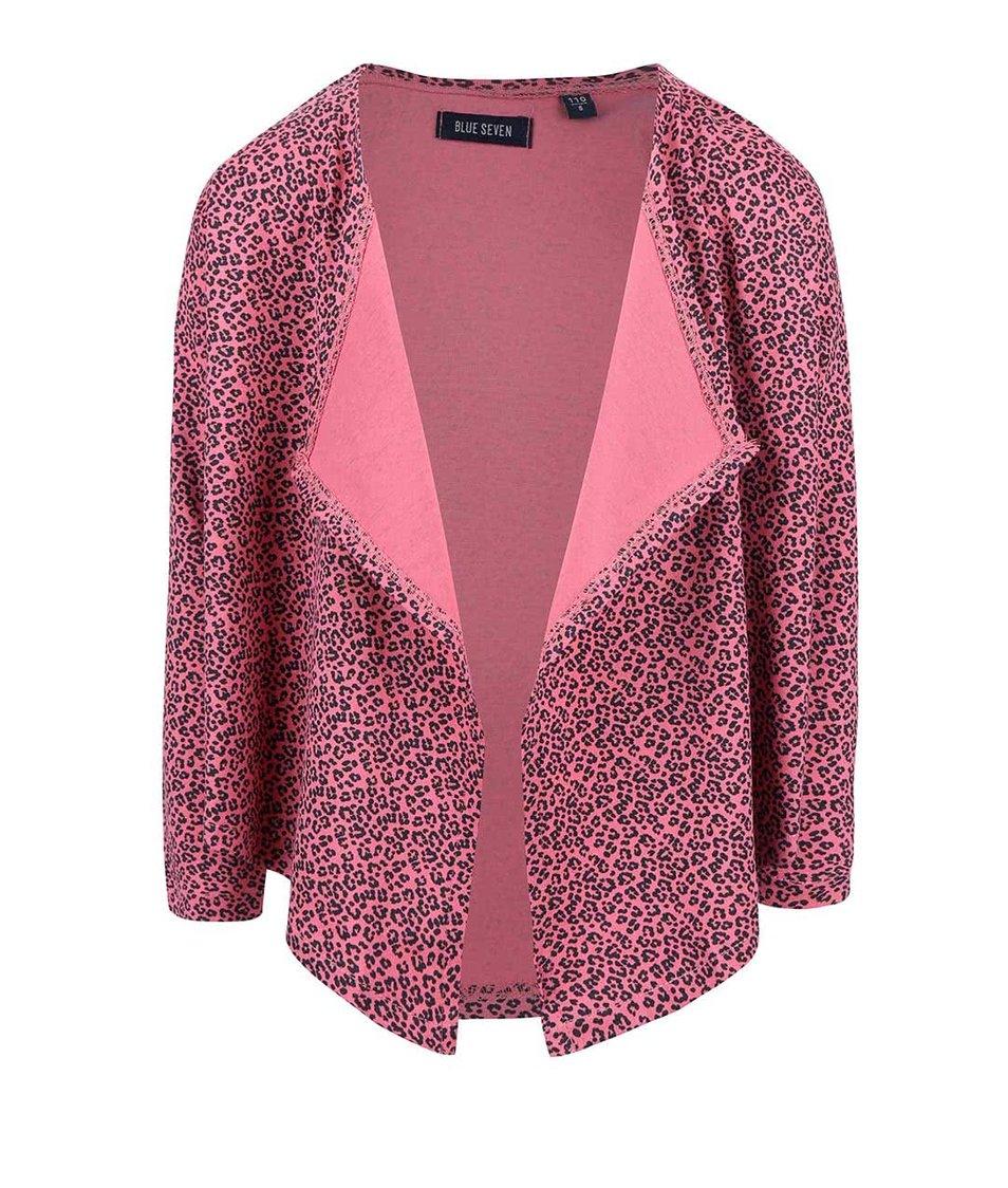 Ružový dievčenský kardigan s leopardím vzorom Blue Seven