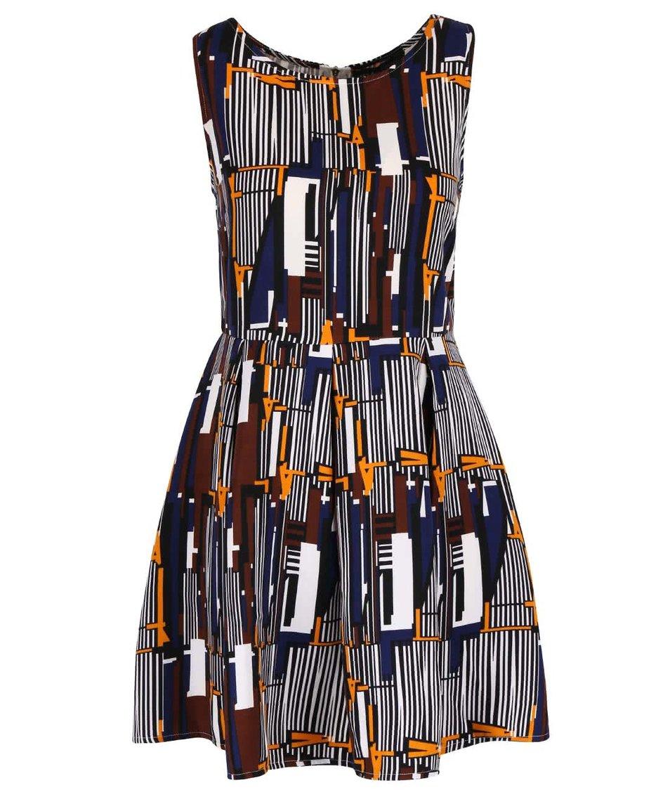 Krémové vzorované šaty so skladanou sukňou Mela London