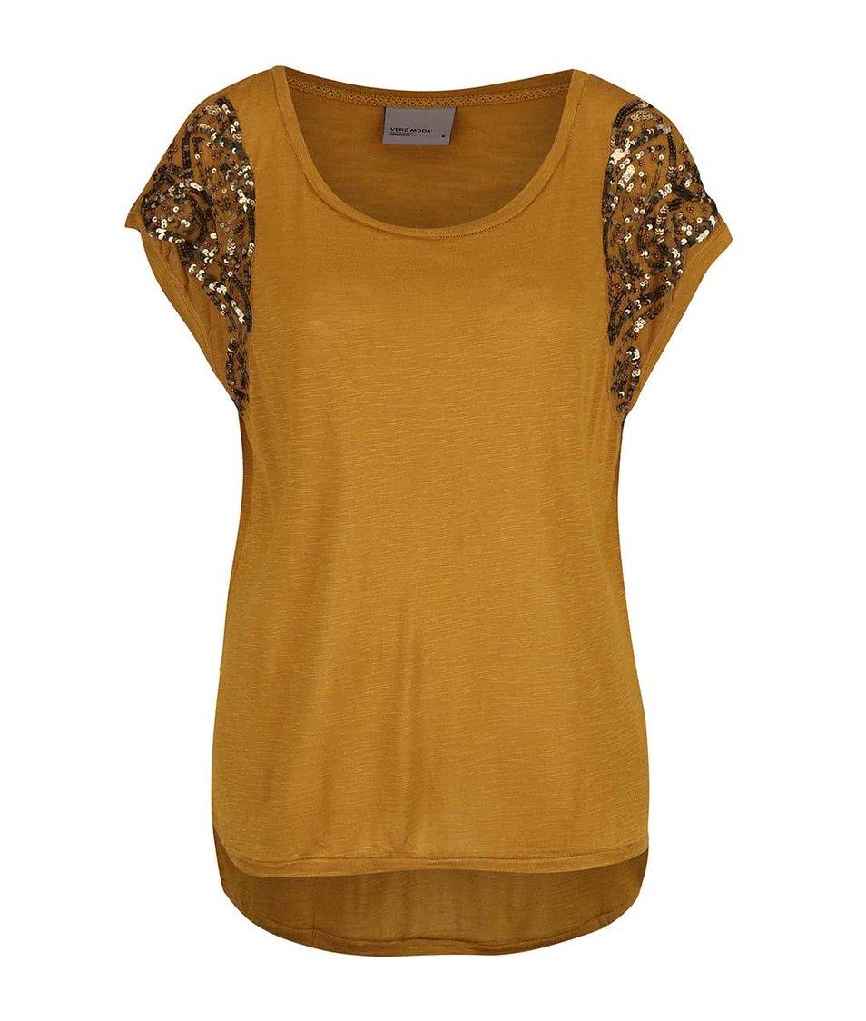 Žltohnedý top s flitrami na ramenách Vero Moda Tinna