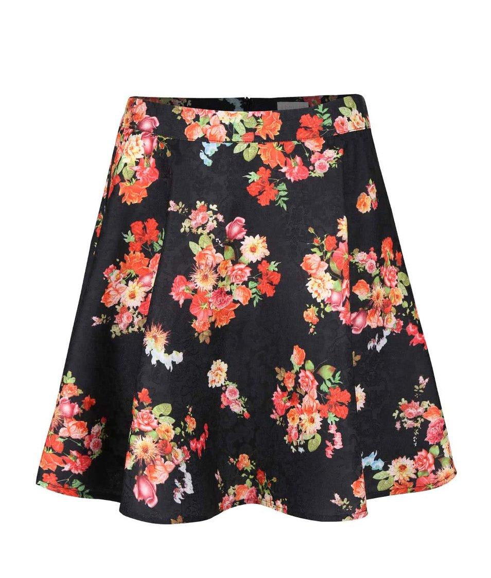 Čierna sukňa s farebnými kvetmi Apricot