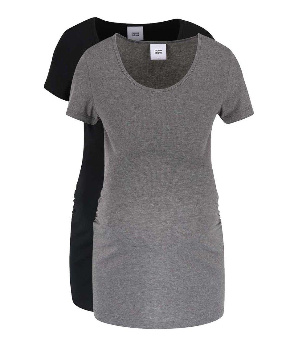 Súprava dvoch tehotenských tričiek v čiernej a sivej farbe Mama.licious Lea