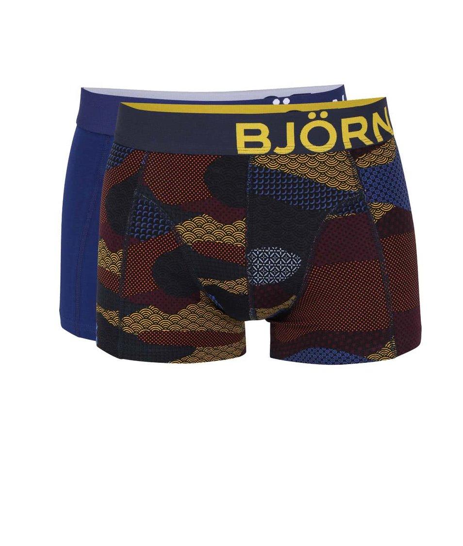 Súprava dvoch tmavomodrých a čiernych boxeriek so vzorom Björn Borg