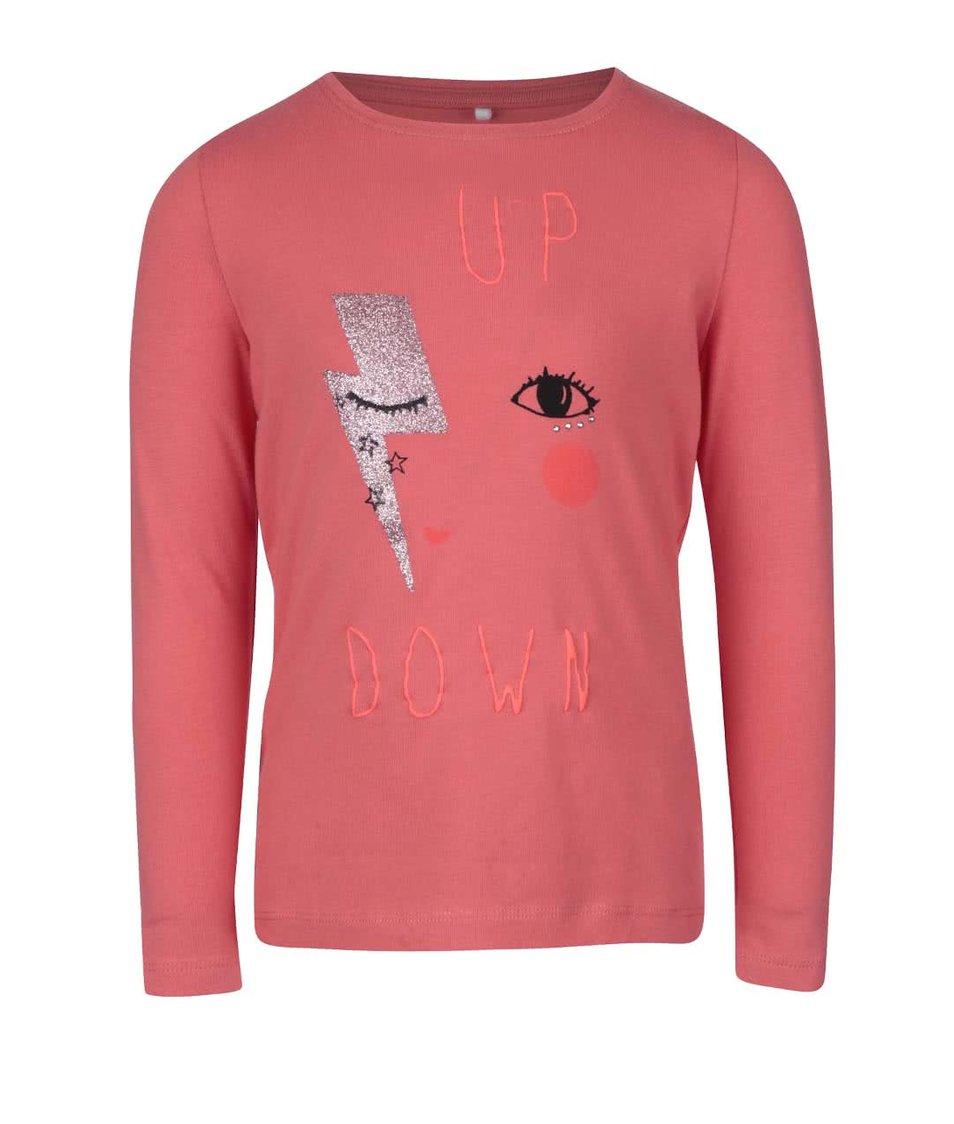 Koralové dievčenské tričko s dlhým rukávom name it Akima