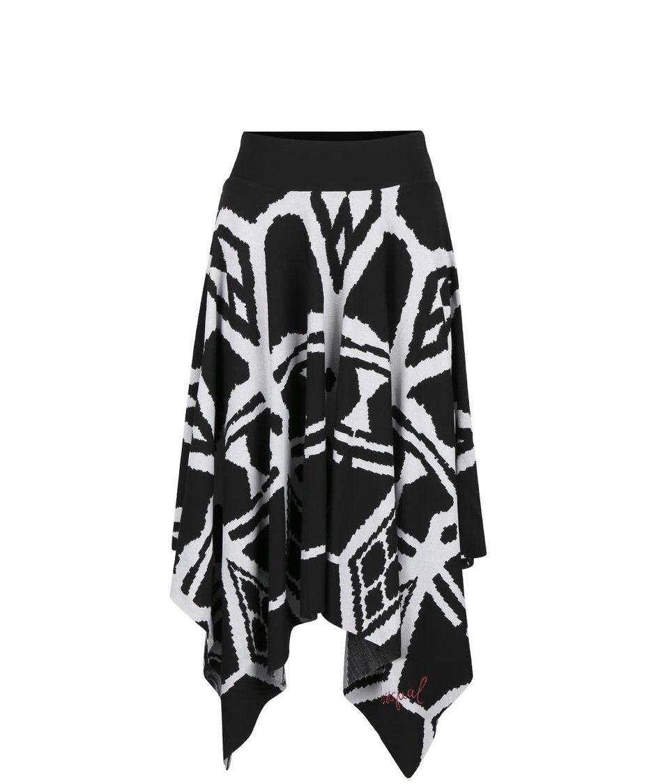 Čierna sukňa s krémovým vzorom Desigual Sophia