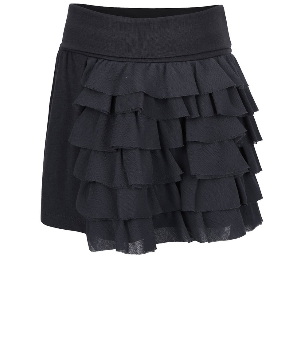 Tmavosivá dievčenská sukňa s volánikmi Bóboli