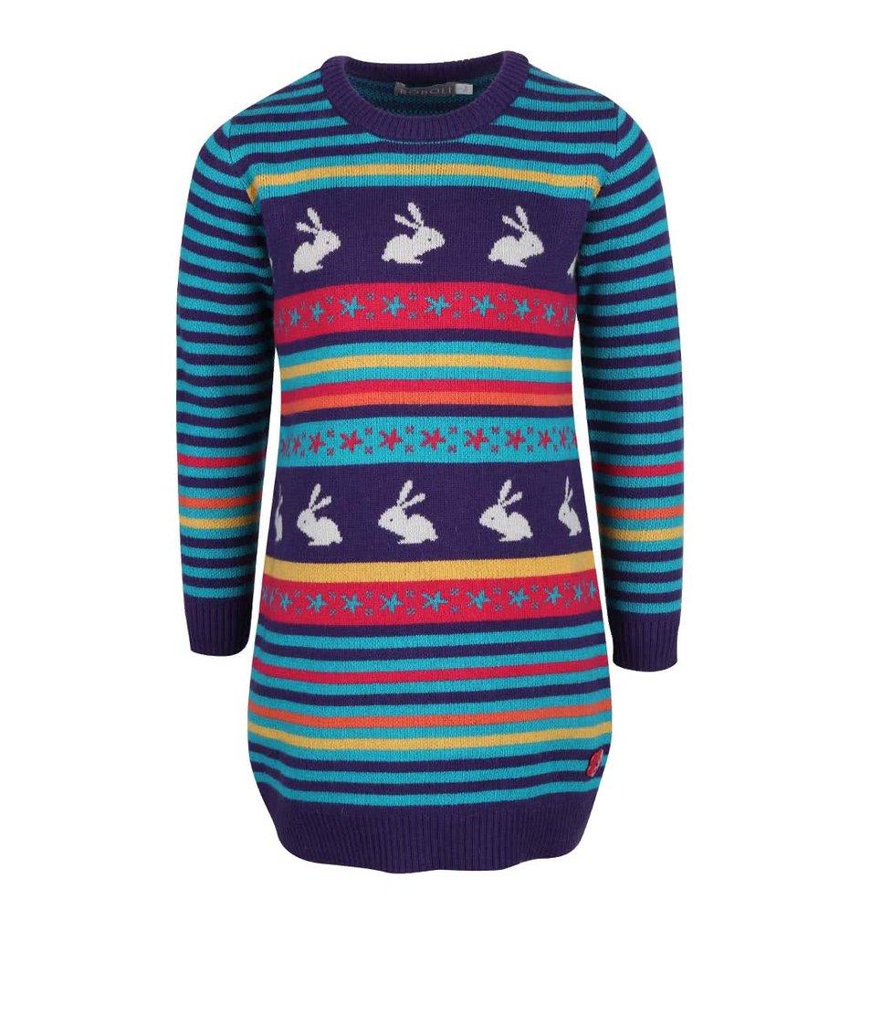 Fialové dievčenské pletené šaty so zajačikmi Bóboli
