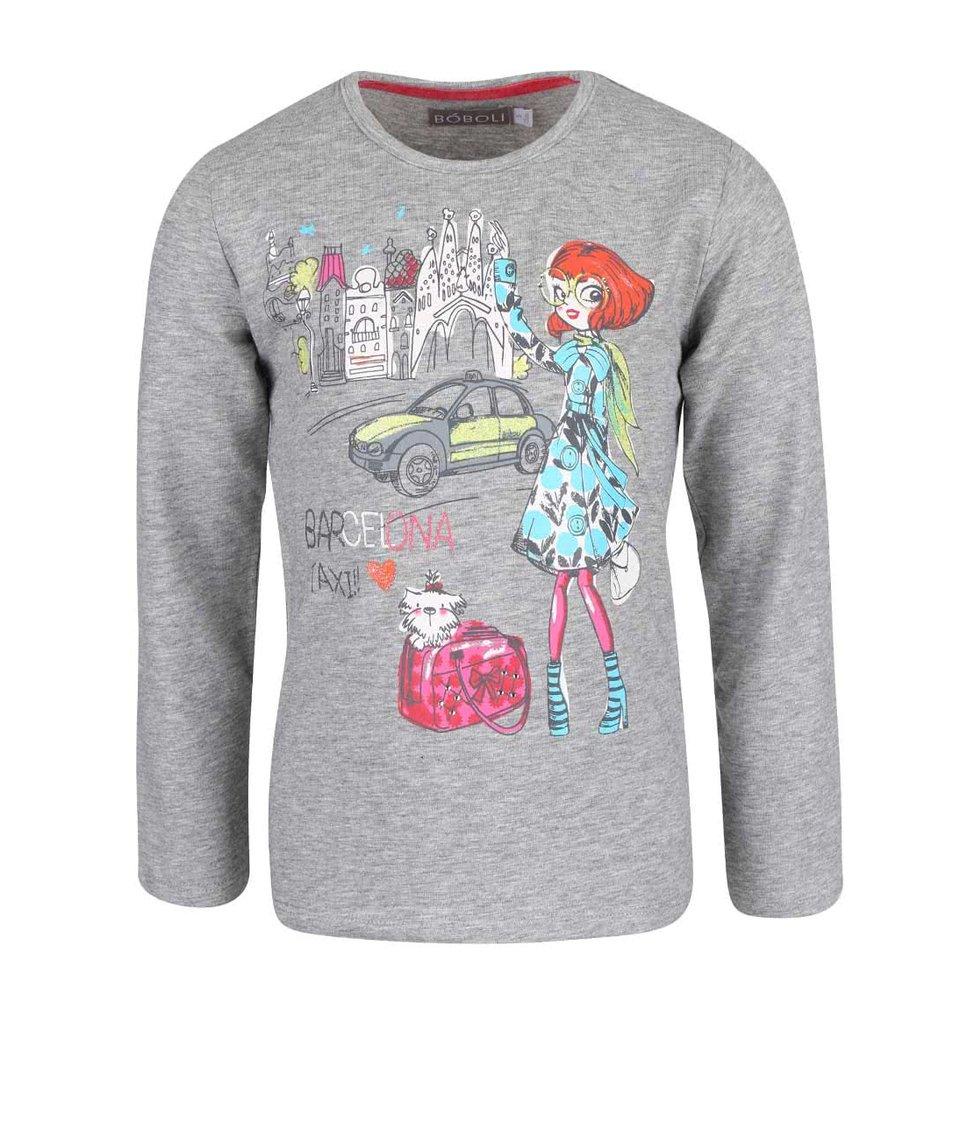 Sivé dievčenské tričko s potlačou dievčaťa v Barcelone Bóboli