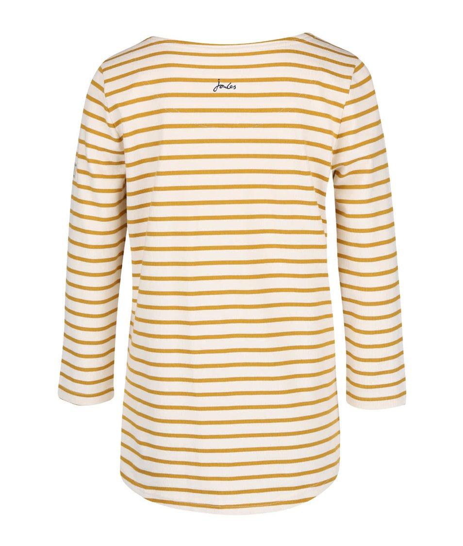 Žlto-krémové dámske pruhované tričko s 3/4 rukávom Tom Joule Harbour