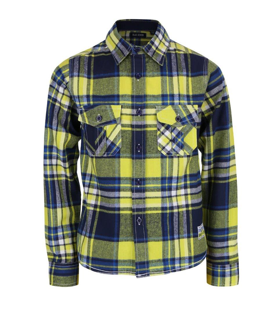 Žlto-modrá chlapčenská károvaná košeľa Blue Seven