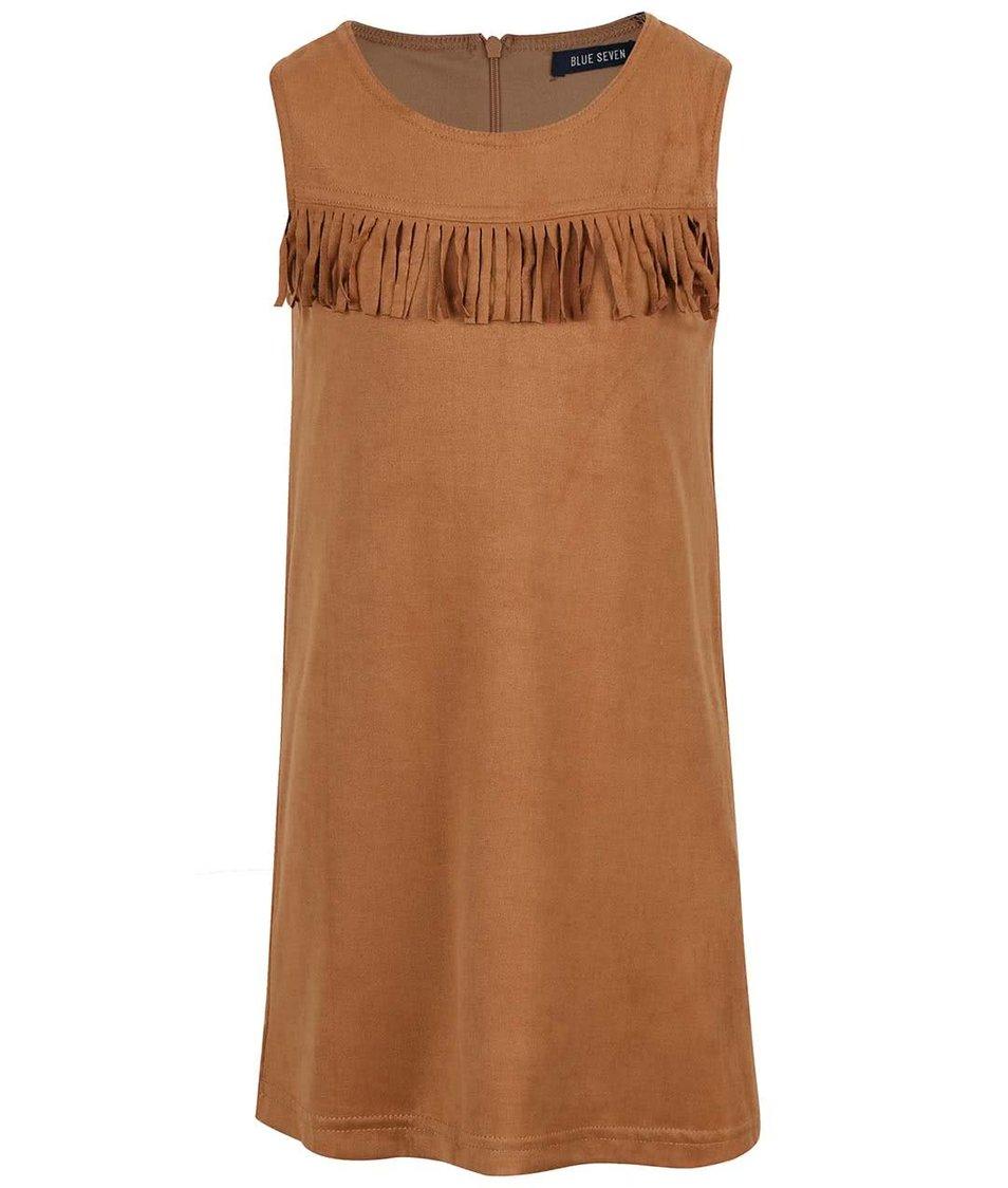 Hnedé dievčenské šaty v semišovej úprave so strapcami Blue Seven