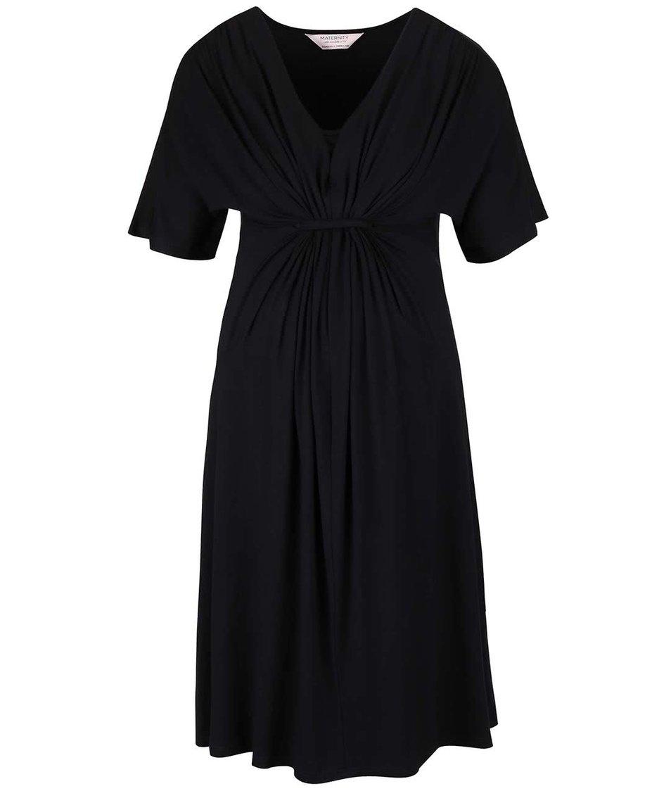 Čierne tehotenské šaty s ozdobným riasením Dorothy Perkins Maternity