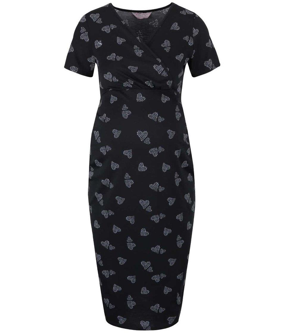 Čierne tehotenské šaty s potlačou Dorothy Perkins Maternity