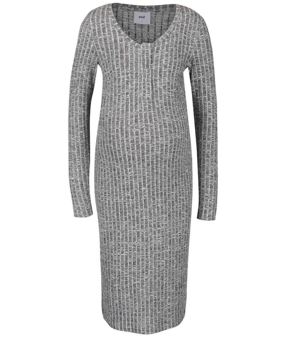Sivé vzorované tehotenské/kojace šaty Mama.licious Riban
