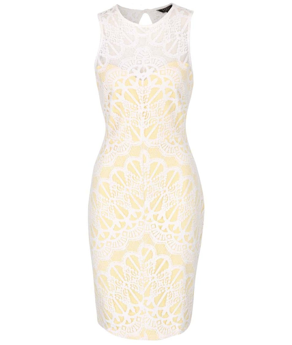 Žlto-biele čipkované šaty Lipsy