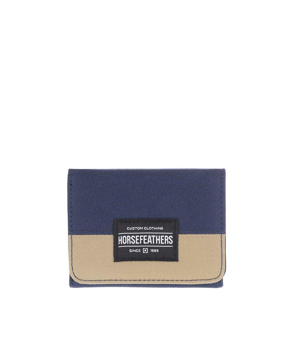 Zľava Modrá pánska peňaženka s kaki pruhom Horsefeathers Waller e63a96da5b9
