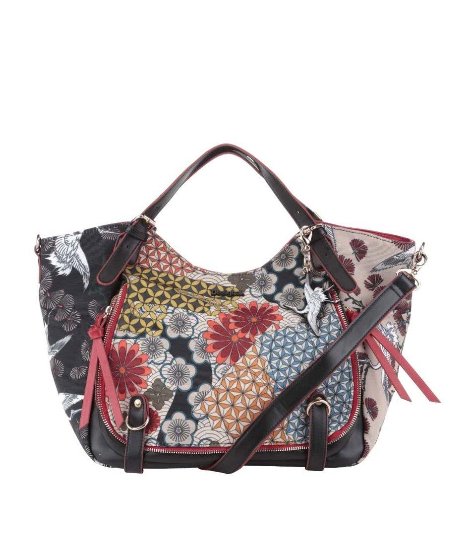 Béžovo-čierna kabelka s farebnými kvetmi Desigual Japan Fresh