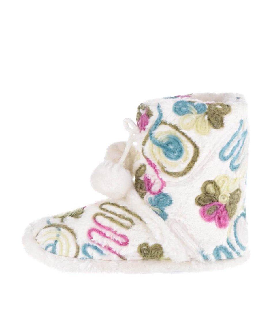 Krémové vzorované vyššie papuče s brmbolcom Something Special