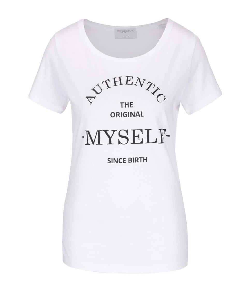 Sivé melírované tričko s krátkym rukávom a potlačou Jana Minaříková Original Myself