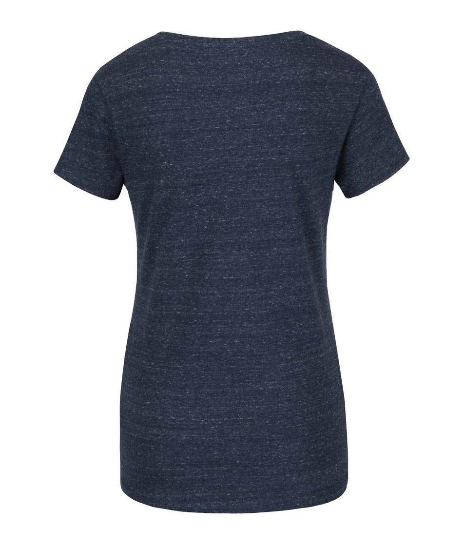 Tmavomodré melírované tričko s krátkym rukávom a potlačou Jana Minaříková Original Myself