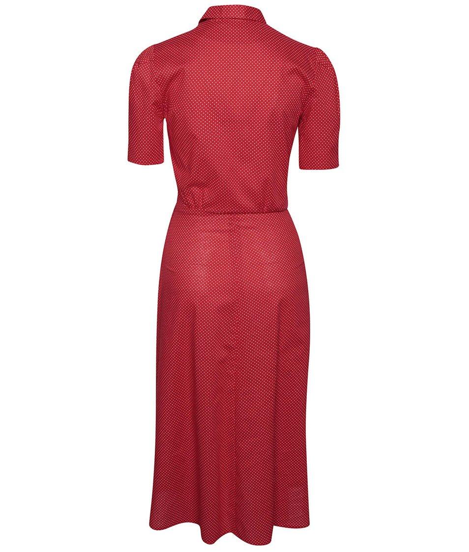 Červené bodkované retro šaty s gombíkmi Lazy Eye Marlen