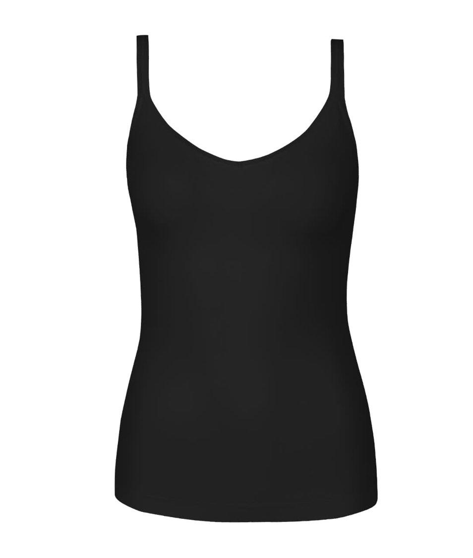 Zľava  Čierne elastické tielko Pieces Plain