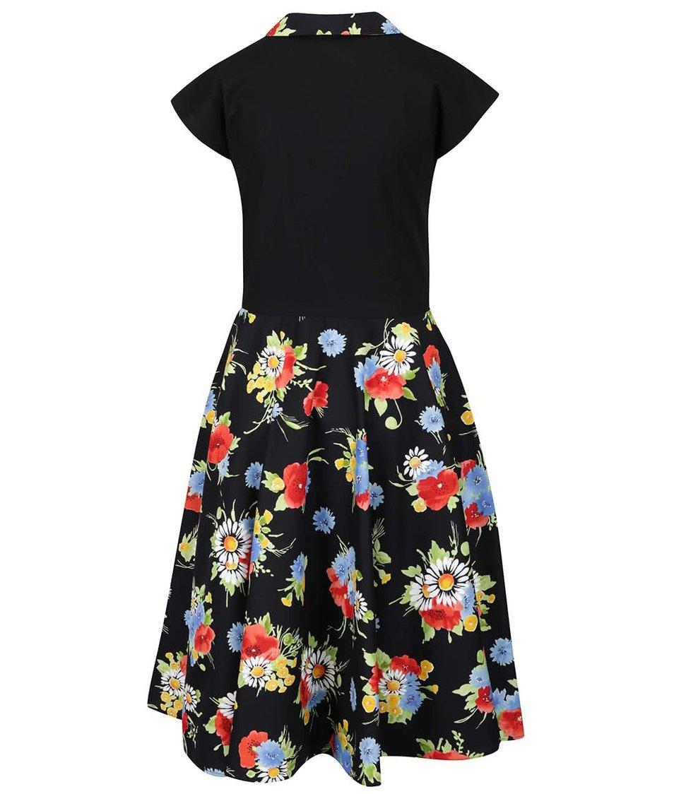 Černé retro šaty s motivem barevných květů Lazy Eye Agnes