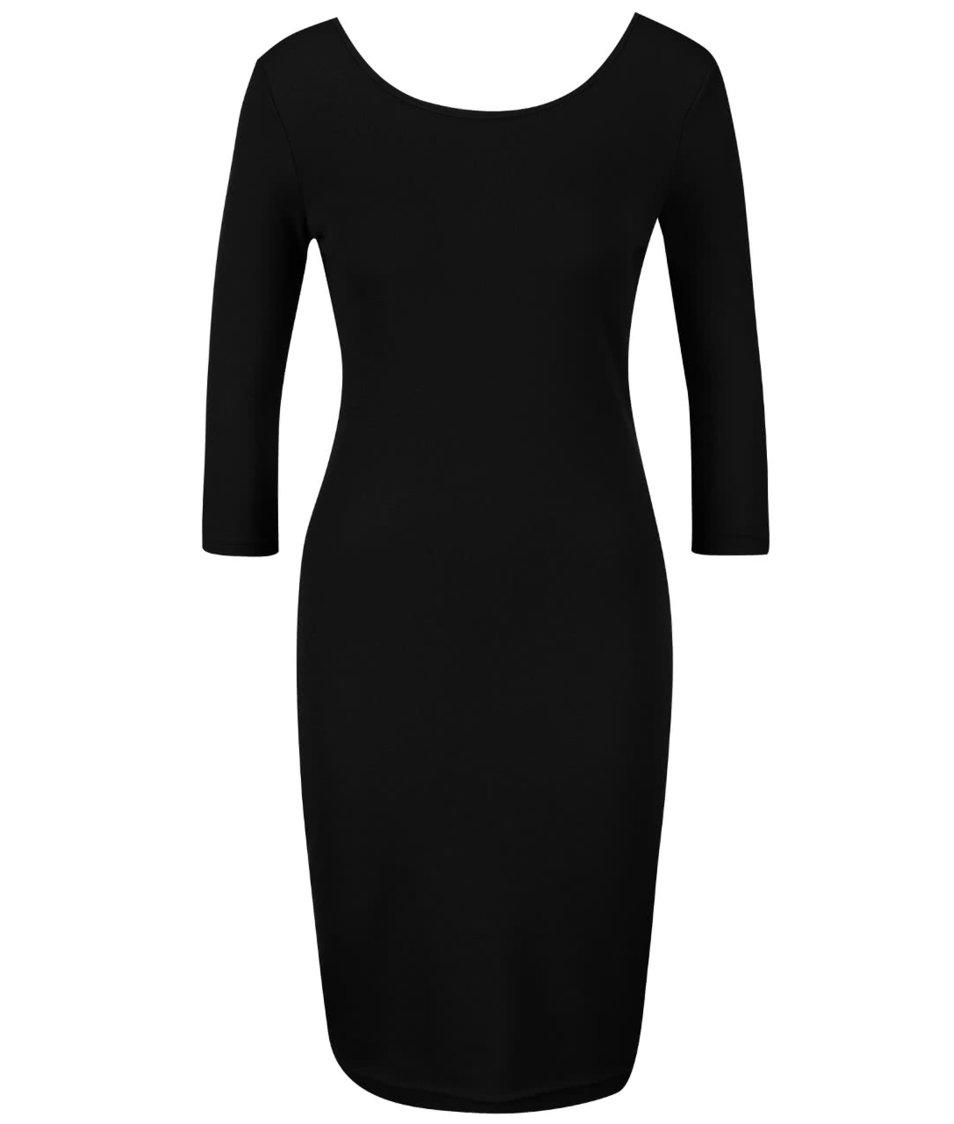 Tmavosivé priliehavé šaty s 3/4 rukávmi Chriss Pola Zéta