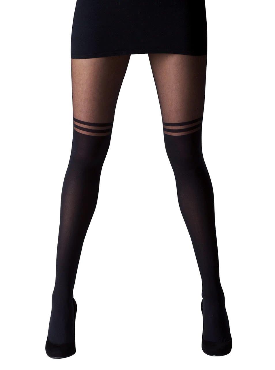 Fotografie Černé punčochové kalhoty s dvojitými pruhy Gipsy