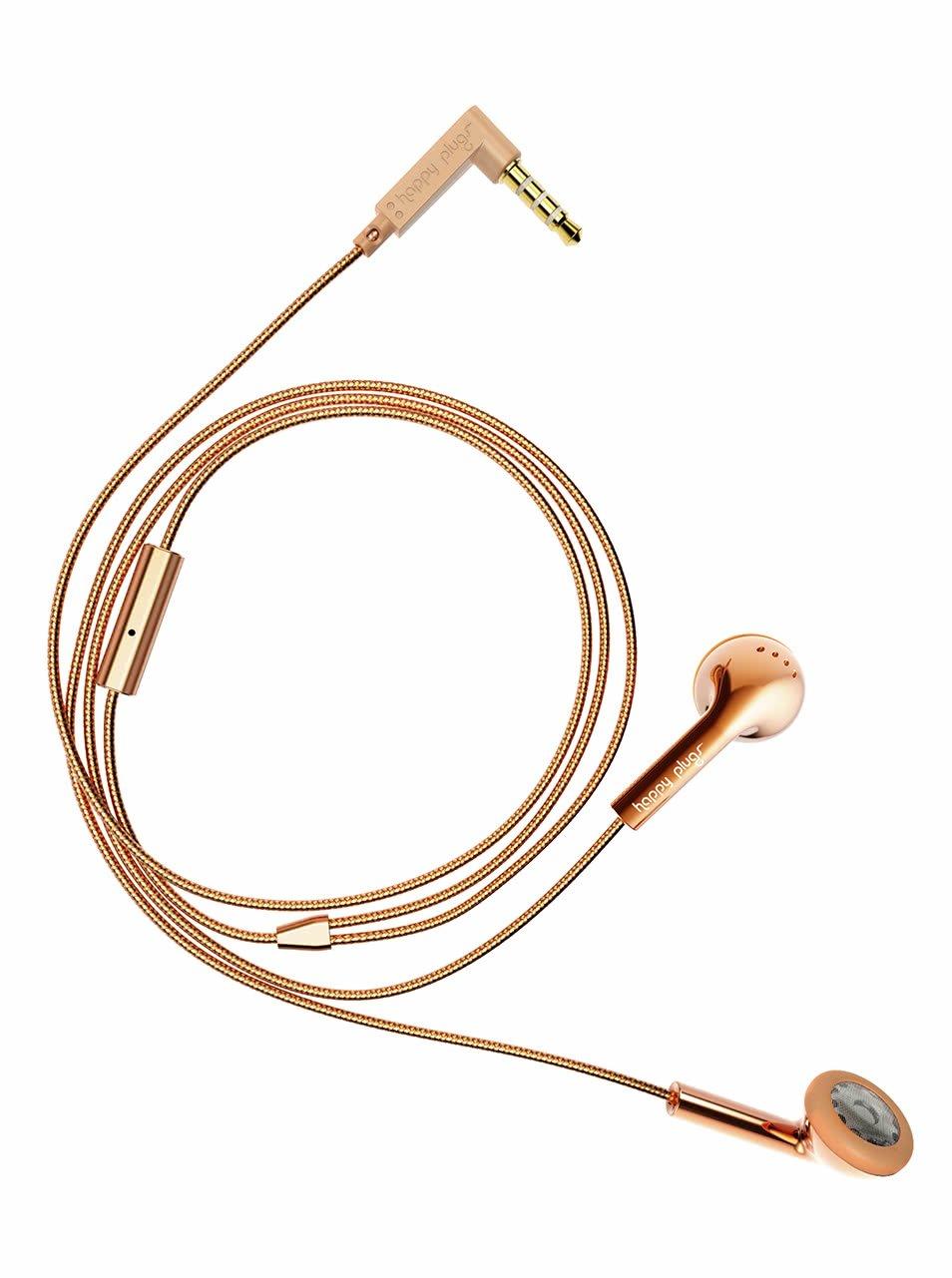 Earbud sluchátka ve zlatorůžové barvě Happy Plugs