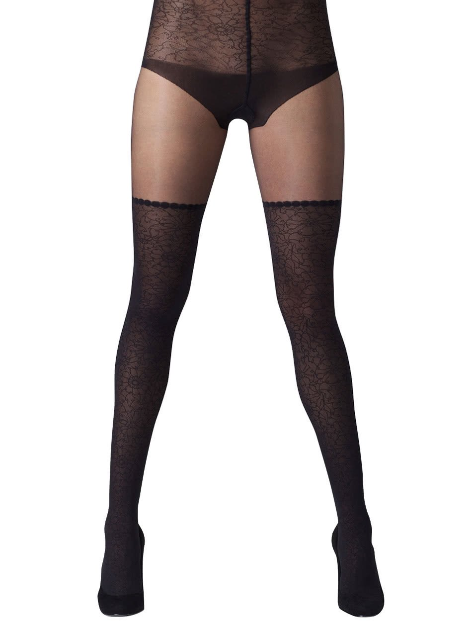 Fotografie Černé punčochové kalhoty s vysokým pasem s krajkou Gipsy